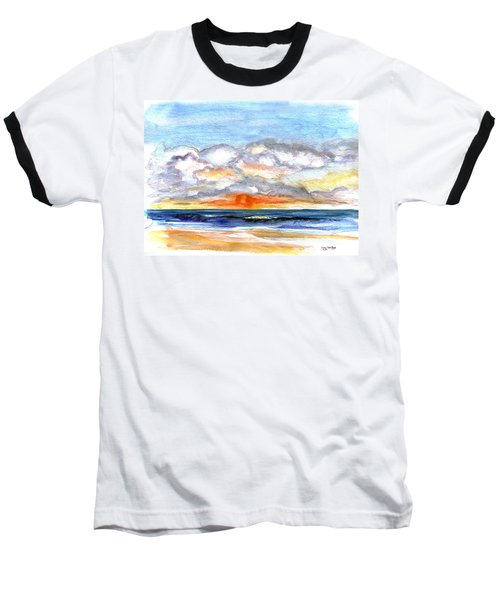 Baseball T-Shirt featuring the painting Sunset Clouds by Clara Sue Beym