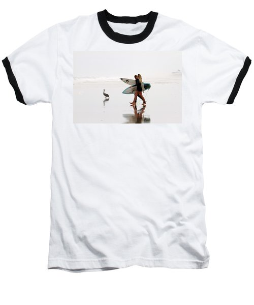 Baseball T-Shirt featuring the photograph Surfers And A Pelican by Alice Gipson