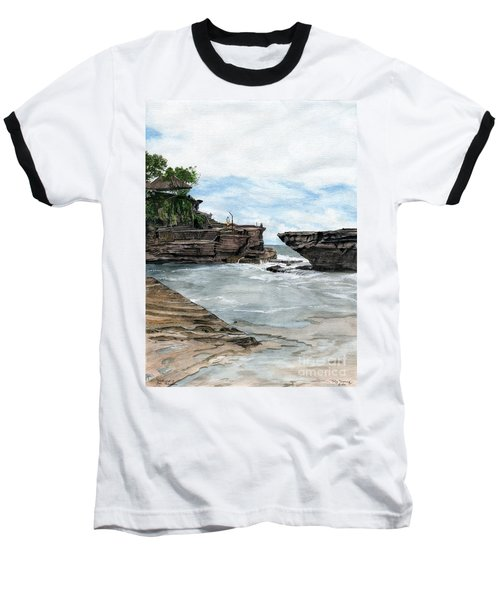 Baseball T-Shirt featuring the painting Tanah Lot Temple II Bali Indonesia by Melly Terpening