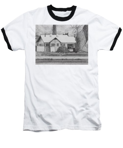 Baseball T-Shirt featuring the drawing The House Across by Kume Bryant