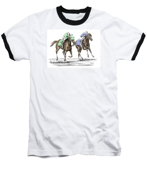 The Stretch - Tb Horse Racing Print Color Tinted Baseball T-Shirt by Kelli Swan