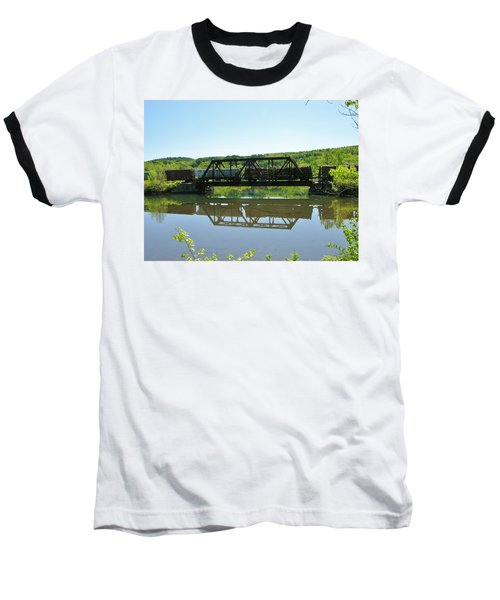 Baseball T-Shirt featuring the photograph Train And Trestle by Sherman Perry