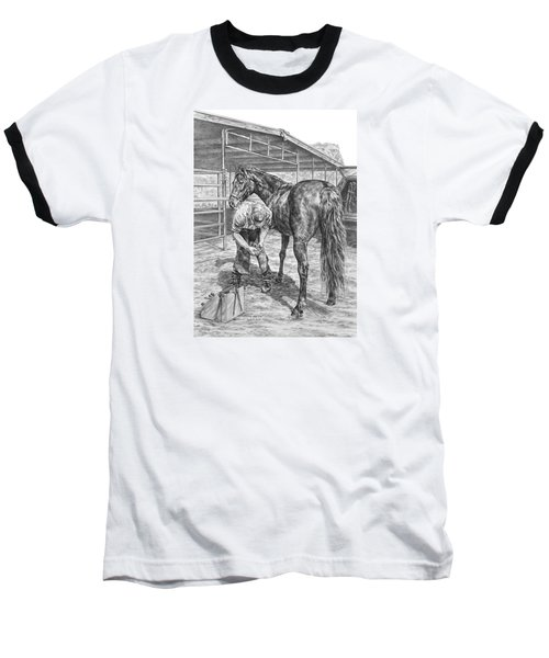 Trim And Fit - Farrier With Horse Art Print Baseball T-Shirt by Kelli Swan