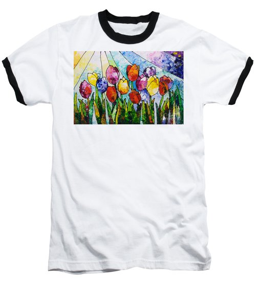Tulips On Parade Baseball T-Shirt by Sally Trace