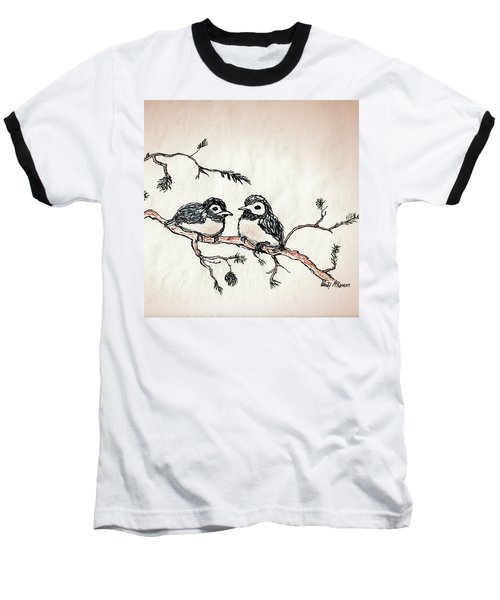 Baseball T-Shirt featuring the drawing Two Birds by Wendy McKennon