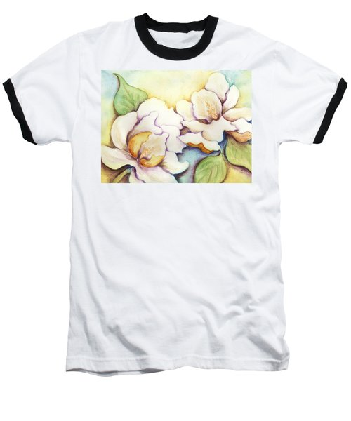 Two Magnolia Blossoms Baseball T-Shirt by Carla Parris