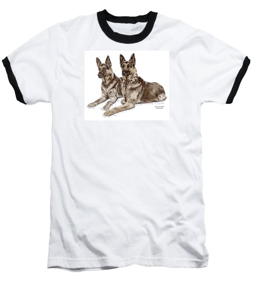 Two Of A Kind - German Shepherd Dogs Print Color Tinted Baseball T-Shirt by Kelli Swan