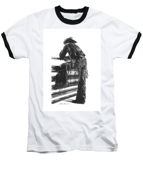 Baseball T-Shirt featuring the drawing Waiting  by Marianne NANA Betts
