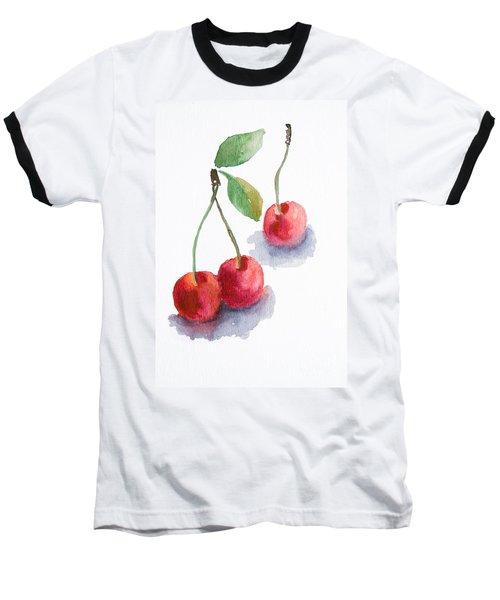 Watercolor Cherry  Baseball T-Shirt