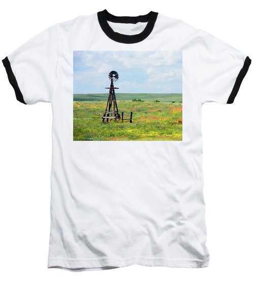 Baseball T-Shirt featuring the photograph Western Kansas Wooden Windmill  by Michael Flood
