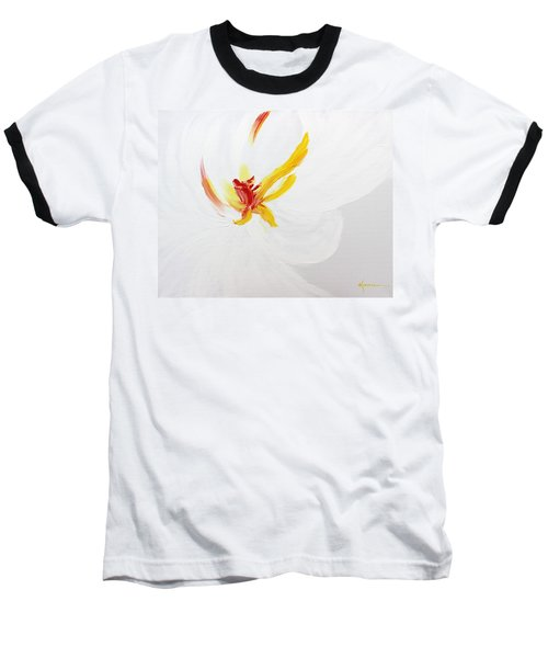 Baseball T-Shirt featuring the painting White Flower by Kume Bryant