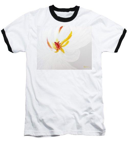 White Flower Baseball T-Shirt by Kume Bryant