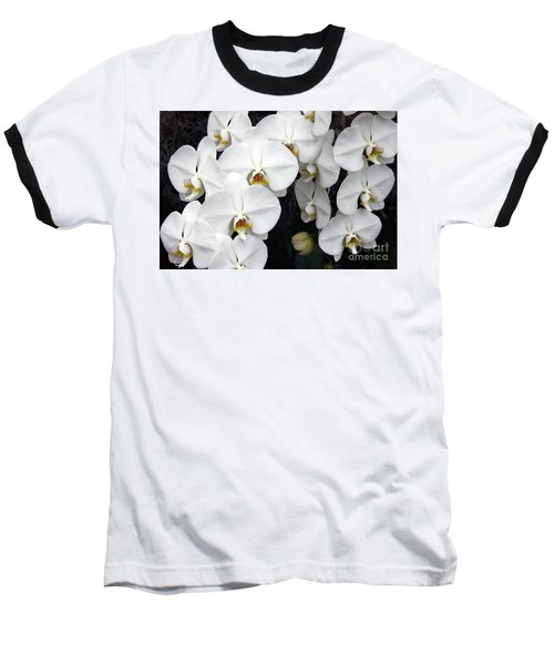 Baseball T-Shirt featuring the photograph White Orchids by Debbie Hart