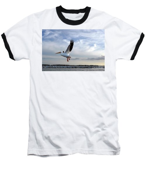Baseball T-Shirt featuring the photograph White Pelican Flying Over Island by Dan Friend