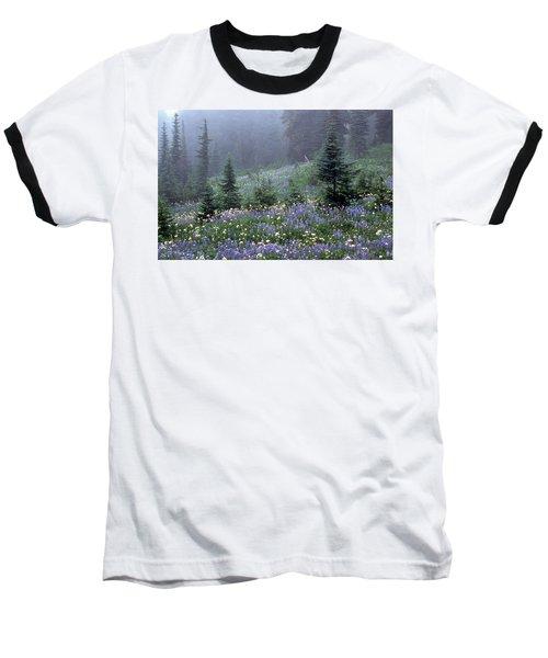 Wildflower Meadow Mt Rainier Baseball T-Shirt