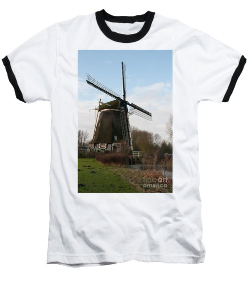 Baseball T-Shirt featuring the digital art Windmill In Amsterdam by Carol Ailles