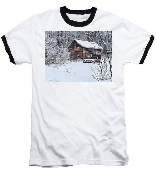 Baseball T-Shirt featuring the photograph Winter Cabin by Judy  Johnson