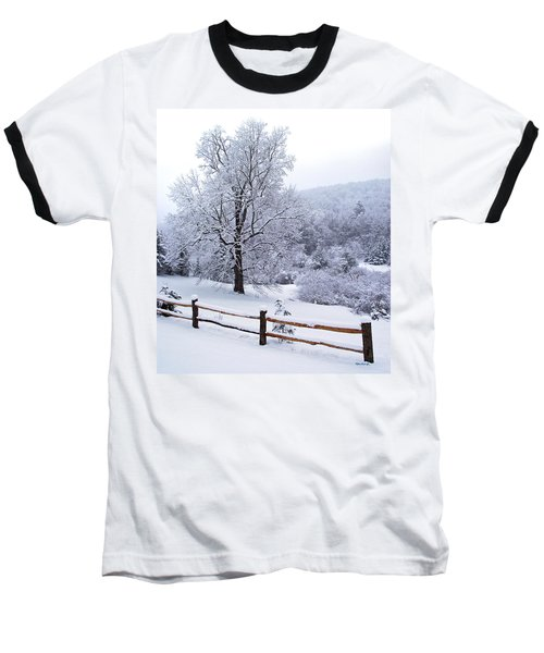 Winter Tree And Fence In The Valley Baseball T-Shirt