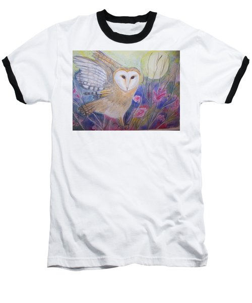 Wise Moon Baseball T-Shirt by Belinda Lawson