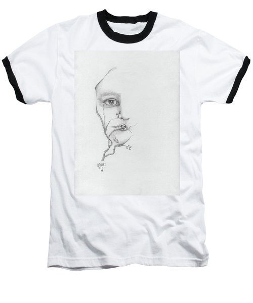 Woman Face Growing Out Of A Tree Branch Black And White Surrealistic Fantasy  Baseball T-Shirt by Rachel Hershkovitz