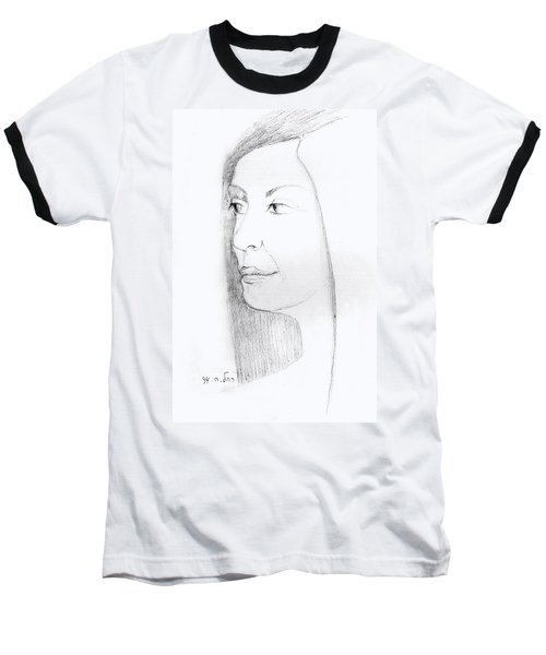 Woman In Black And White Long Hair Red Lips And Shoulders  Baseball T-Shirt by Rachel Hershkovitz