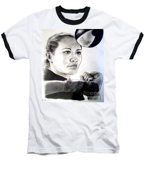 Baseball T-Shirt featuring the drawing Woman's Boxing Champion Filipino American Ana Julaton by Jim Fitzpatrick