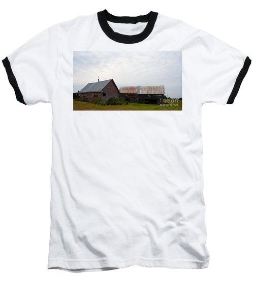 Baseball T-Shirt featuring the photograph Wood And Log Sheds by Barbara McMahon