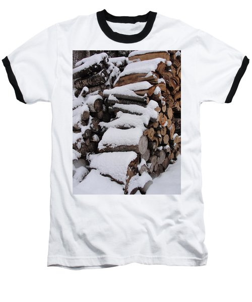 Baseball T-Shirt featuring the photograph Wood Pile by Tiffany Erdman