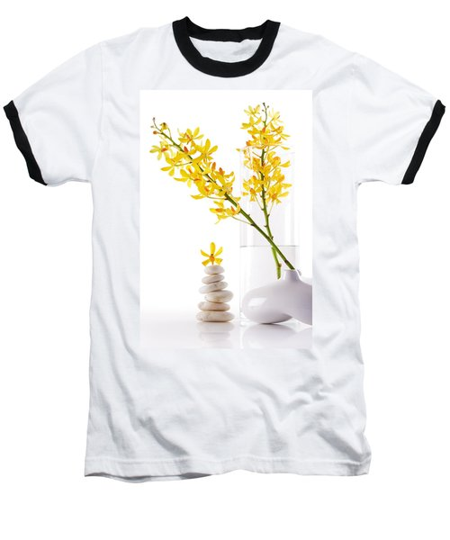 Yellow Orchid Bunchs Baseball T-Shirt by Atiketta Sangasaeng