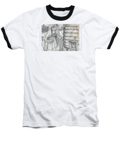 Young Girl Feeding The Chickens In The 1800's Baseball T-Shirt by Francine Heykoop