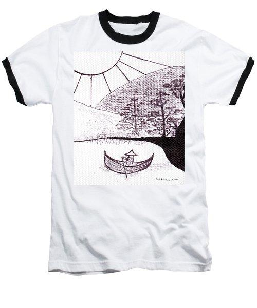 Zen Sumi Asian Lake Fisherman Black Ink On White Canvas Baseball T-Shirt