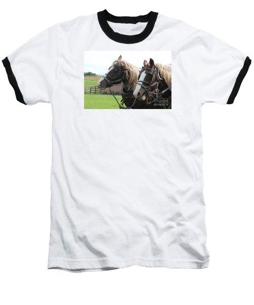 Baseball T-Shirt featuring the photograph  Belgian Horses by Yumi Johnson