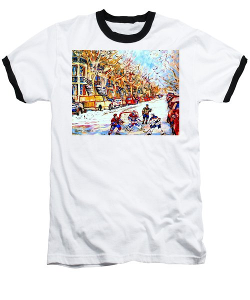 Hockey Game On Colonial Street  Near Roy Montreal City Scene Baseball T-Shirt