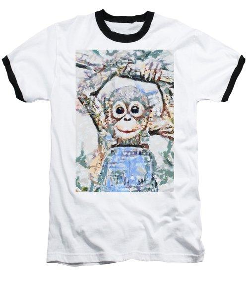 Monkey Rainbow Splattered Fragmented Blue Baseball T-Shirt
