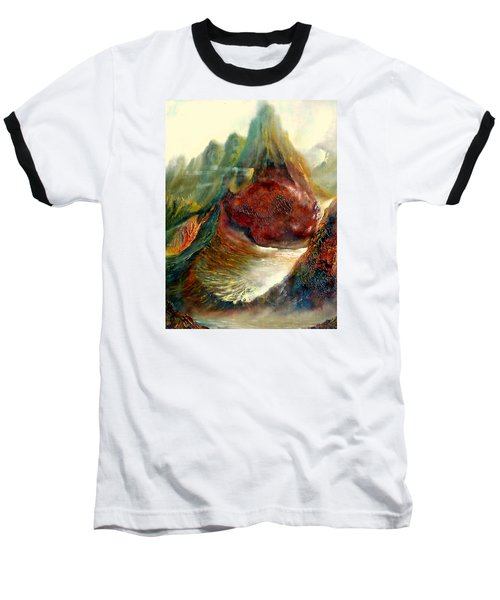 Baseball T-Shirt featuring the painting  Mountains Fire by Henryk Gorecki