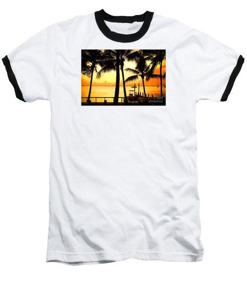 Palm Sunset On The Keys Baseball T-Shirt by Judy Kay