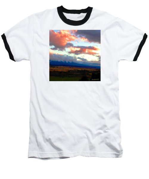 Sunset Clouds Over Spanish Peaks Baseball T-Shirt by Anastasia Savage Ealy