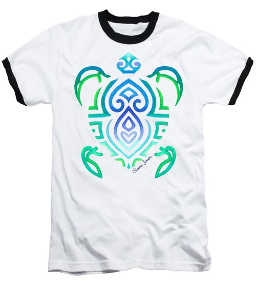 Tribal Turtle Baseball T-Shirt by Heather Schaefer