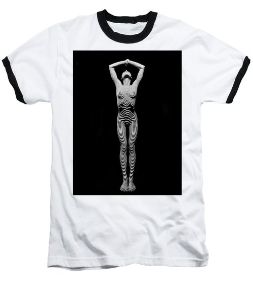 0029-dja Light Above Illuminates Zebra Striped Woman Slim Body Black And White Fine Art Chris Maher Baseball T-Shirt