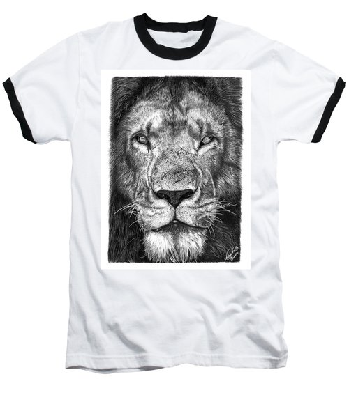Baseball T-Shirt featuring the drawing 059 - Lorien The Lion by Abbey Noelle