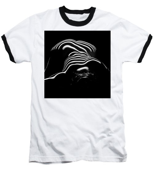 0686-ar Head Down Bottom Up Zebra Striped Female Figure Baseball T-Shirt by Chris Maher