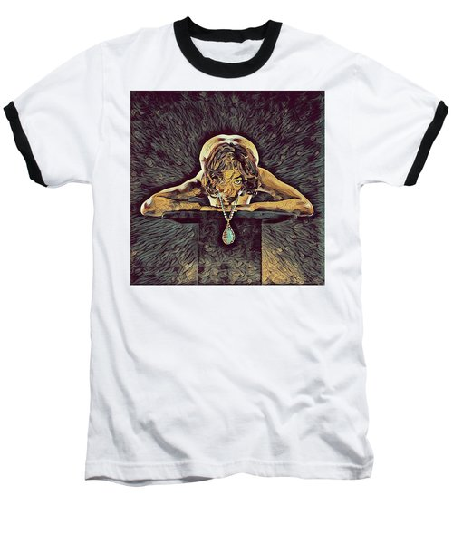 0756s-zac Nude Woman With Amulet On Tall Pedestal  Baseball T-Shirt