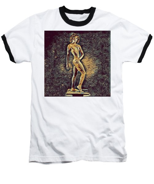 0957s-zac Fit Black Dancer Standing On Platform Baseball T-Shirt by Chris Maher