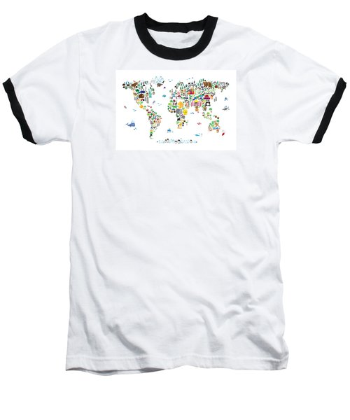 Animal Map Of The World For Children And Kids Baseball T-Shirt