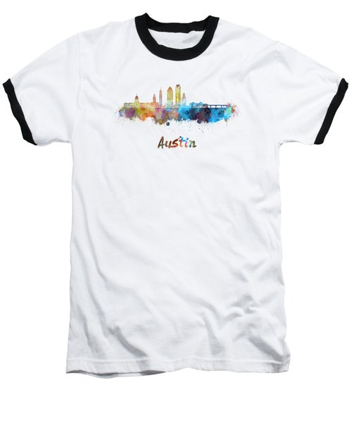 Austin Skyline In Watercolor Baseball T-Shirt
