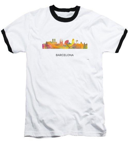 Barcelona Spain Skyline Baseball T-Shirt by Marlene Watson