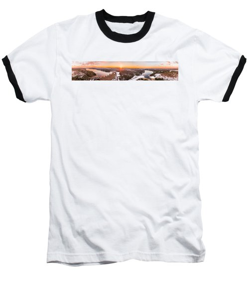 Barkhamsted Reservoir And Saville Dam In Connecticut, Sunrise Panorama Baseball T-Shirt