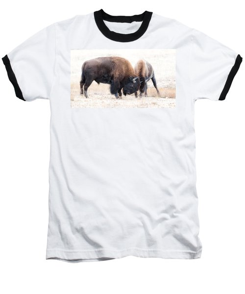 Baseball T-Shirt featuring the photograph Battle Of The Bison In Rut by Yeates Photography