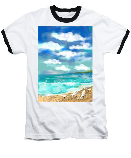 Beach Birds Baseball T-Shirt by Elaine Lanoue