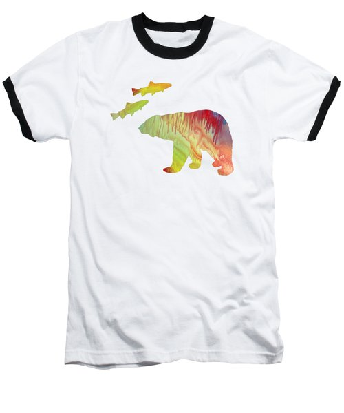 Bear And Salmon Baseball T-Shirt